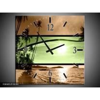 Wandklok op Canvas Strand | Kleur: Groen, Bruin, Zwart | F004452C