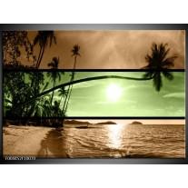 Glas schilderij Strand | Groen, Bruin, Zwart