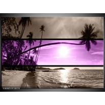 Glas schilderij Strand | Paars, Grijs, Zwart