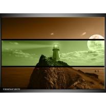 Glas schilderij Vuurtoren | Groen, Bruin, Zwart