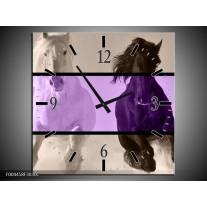 Wandklok op Canvas Paard | Kleur: Paars, Zwart, Grijs | F004458C