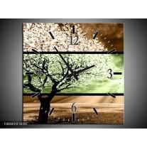 Wandklok op Canvas Boom | Kleur: Bruin, Groen, Zwart | F004459C