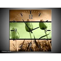 Wandklok op Canvas Tulp | Kleur: Groen, Bruin | F004461C