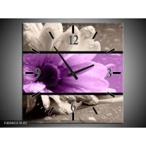 Wandklok op Canvas Bloem | Kleur: Paars, Grijs, Zwart | F004465C