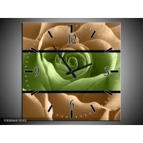 Wandklok op Canvas Roos | Kleur: Groen, Bruin, Zwart | F004466C