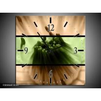 Wandklok op Canvas Bloem | Kleur: Groen, Bruin, Zwart | F004468C