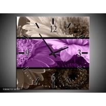 Wandklok op Canvas Bloem | Kleur: Paars, Grijs | F004471C