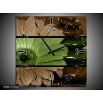 Wandklok op Canvas Bloem | Kleur: Groen, Bruin | F004472C