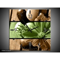 Wandklok op Canvas Bloem | Kleur: Groen, Bruin | F004473C