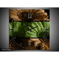 Wandklok op Canvas Bloem | Kleur: Groen, Bruin | F004475C