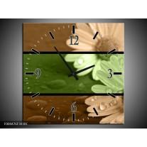 Wandklok op Canvas Bloem | Kleur: Groen, Bruin | F004476C