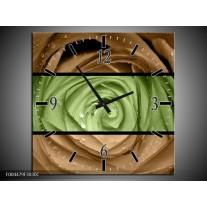 Wandklok op Canvas Roos | Kleur: Groen, Bruin | F004479C