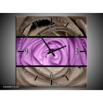 Wandklok op Canvas Roos | Kleur: Paars, Grijs | F004480C