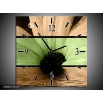 Wandklok op Canvas Bloem | Kleur: Bruin, Groen, Zwart | F004481C