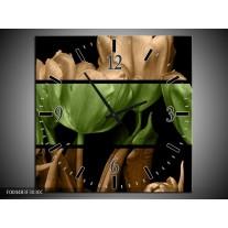 Wandklok op Canvas Tulp | Kleur: Groen, Bruin, Zwart | F004483C
