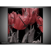 Wandklok op Canvas Tulp | Kleur: Rood, Grijs, Zwart | F004489C