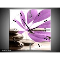 Wandklok op Canvas Spa | Kleur: Zwart, Paars, Wit | F004494C