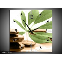 Wandklok op Canvas Spa | Kleur: Groen, Bruin, Wit | F004495C