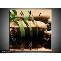 Wandklok op Canvas Spa | Kleur: Groen, Bruin, Zwart | F004496C