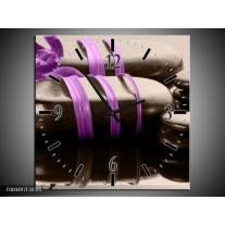 Wandklok op Canvas Spa | Kleur: Paars, Zwart | F004497C