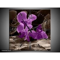Wandklok op Canvas Orchidee | Kleur: Paars, Grijs | F004498C