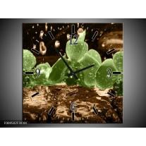Wandklok op Canvas Orchidee   Kleur: Groen, Bruin   F004502C