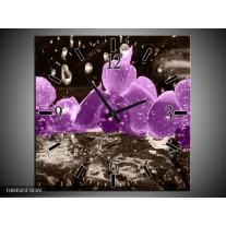 Wandklok op Canvas Orchidee | Kleur: Paars, Grijs | F004503C