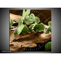 Wandklok op Canvas Orchidee | Kleur: Groen, Bruin | F004505C