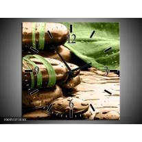 Wandklok op Canvas Spa | Kleur: Bruin, Groen | F004511C