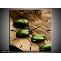 Wandklok op Canvas Spa | Kleur: Bruin, Groen | F004513C