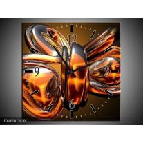 Wandklok op Canvas Modern | Kleur: Goud, Geel, Bruin | F004531C
