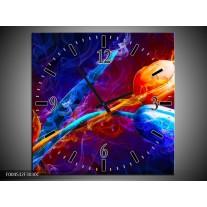 Wandklok op Canvas Tulp   Kleur: Blauw, Rood, Oranje   F004532C