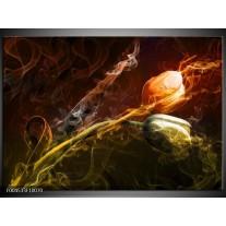 Foto canvas schilderij Tulp | Oranje, Groen, Geel