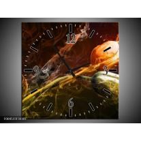 Wandklok op Canvas Tulp   Kleur: Oranje, Groen, Geel   F004533C