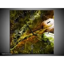 Wandklok op Canvas Tulp   Kleur: Groen, Geel   F004535C