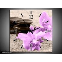 Wandklok op Canvas Orchidee | Kleur: Paars, Grijs, Zwart | F004538C
