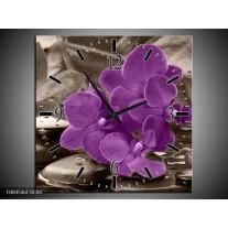 Wandklok op Canvas Orchidee | Kleur: Paars, Grijs | F004546C