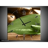 Wandklok op Canvas Blad | Kleur: Groen, Bruin | F004559C