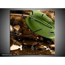 Wandklok op Canvas Blad | Kleur: Groen, Bruin | F004560C