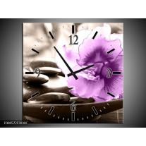 Wandklok op Canvas Orchidee | Kleur: Paars, Grijs | F004572C
