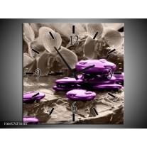 Wandklok op Canvas Orchidee | Kleur: Paars, Grijs | F004576C