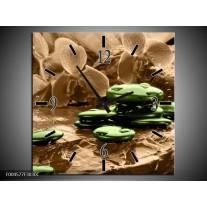 Wandklok op Canvas Orchidee   Kleur: Groen, Bruin   F004577C