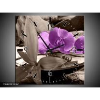 Wandklok op Canvas Orchidee | Kleur: Paars, Grijs | F004578C
