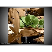Wandklok op Canvas Orchidee | Kleur: Groen, Bruin | F004579C