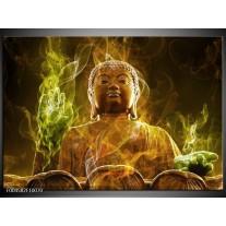 Foto canvas schilderij Boeddha | Bruin, Groen