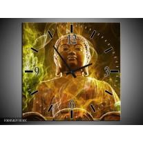 Wandklok op Canvas Boeddha | Kleur: Bruin, Groen | F004582C