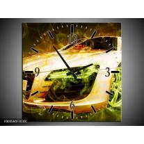 Wandklok op Canvas Audi   Kleur: Bruin, Groen   F004584C