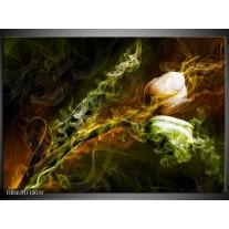 Glas schilderij Tulp | Groen, Geel, Zwart