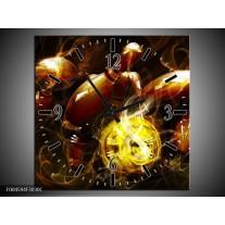 Wandklok op Canvas Spel | Kleur: Bruin, Geel, Zwart | F004594C