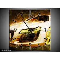 Wandklok op Canvas Audi | Kleur: Geel, Wit, Groen | F004597C